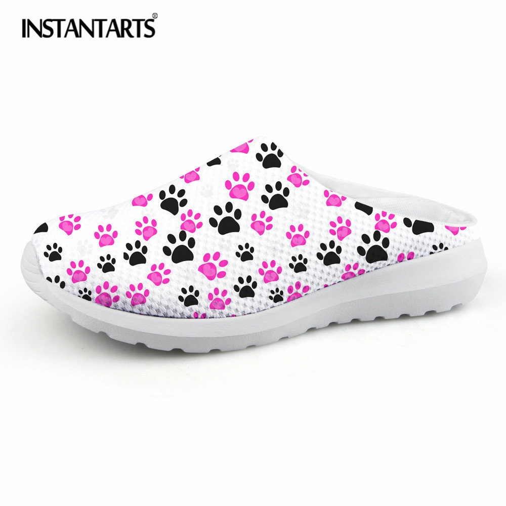 US $23 99 OFF INSTANTARTS Fashion Summer Mesh Sandals Women Cat Pad Print Light Weight Slippers Female Stylish Slip on Beach Water Shoes Girls in
