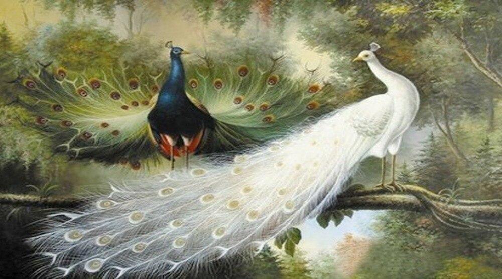 Nová mozaika plně položená diamantová výšivka lesní láska páv pták pár diamantů křížový steh olejomalba ruční sady
