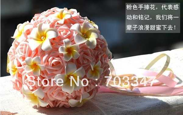 New!!!(1pc/lot) Artificial Foam Rose Bouquet W/Frangipani Pearl Center Bridesmaid Bouquet Wedding Flowers *FREE SHIPPING *