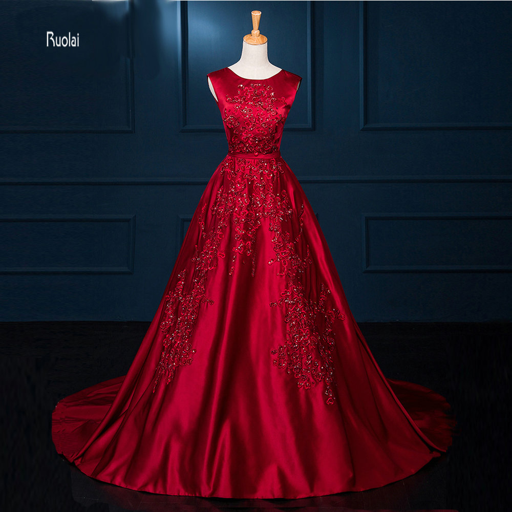 59a064658ea New Arrival Charming 2016 Burgundy Red Satin Lace Applique Beading A Line  Open V Back Formal Long Evening Dresses