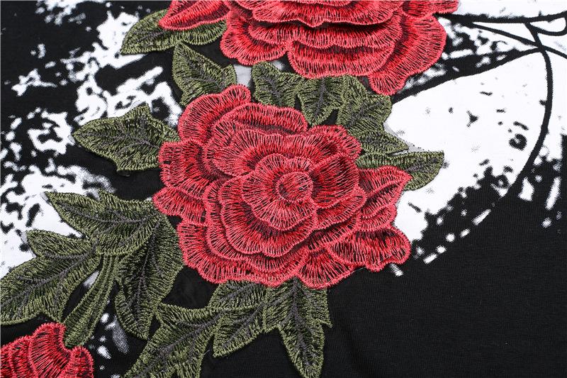 HTB1onDoQXXXXXaOXXXXq6xXFXXX4 - Women Flower Rose Embroidery T shirts PTC 123