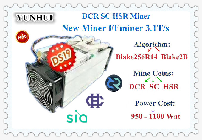 DCR/SC Miner FFMiner DS19 Double Model Blake256/Blake2B With BITMAIN APW7 1800W Power Supply Better Than Innosilicon D9 S11 new style decred miner innosilicon d9 siamaster pow algorithm 2 4th s 900w for decred