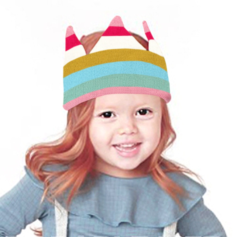 Rainbow Hats Summer girls Caps Baby Bonnet Newborn Gifts Crown Style Children Beanie Knitted Infant Boys Bonnets