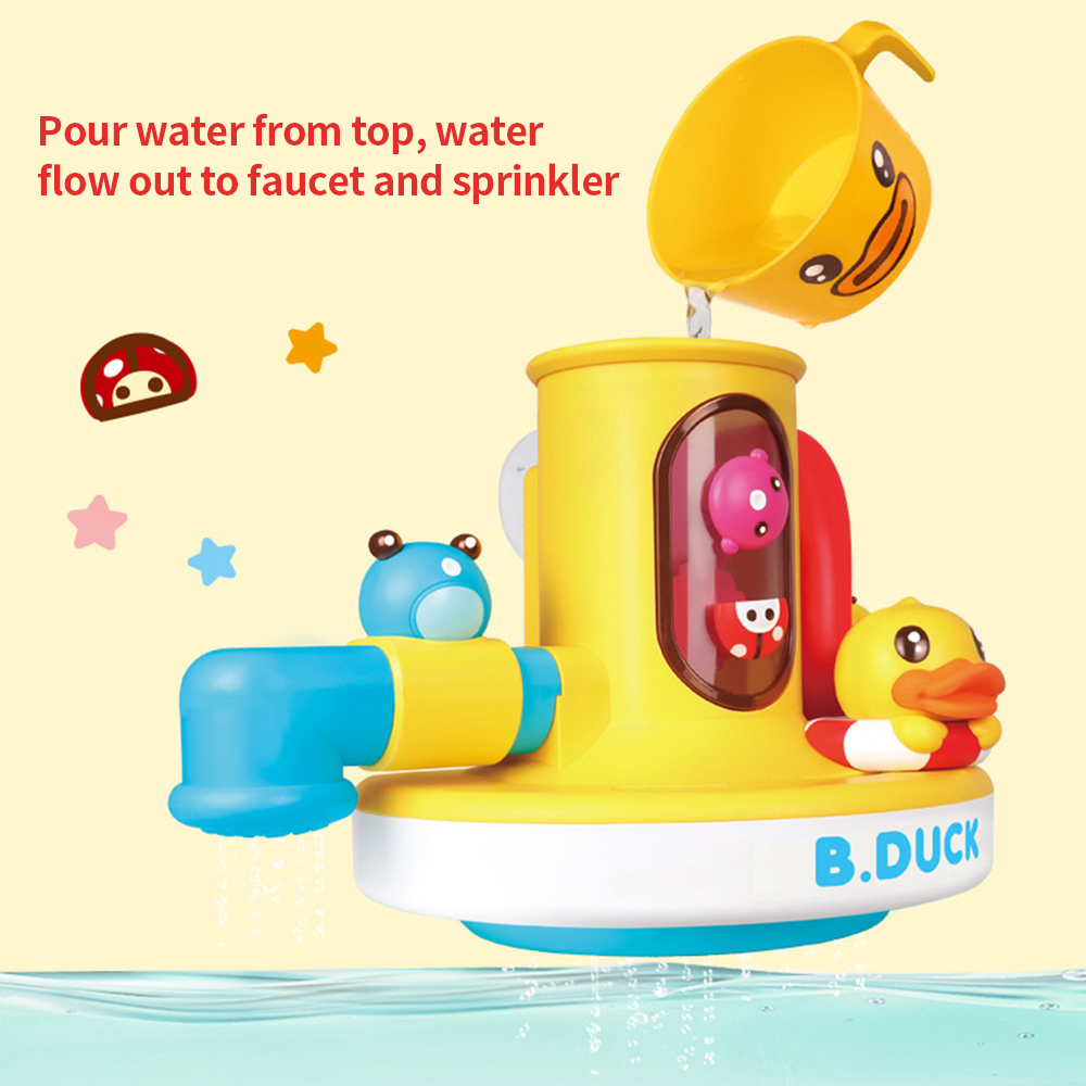Baby Bath Toy Bathtub Sturdy Design No Small Parts Safety Spout Spray Water System Hand Shower No Battery Requires Safe to Play