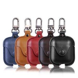Image 2 - Housse daffaires pour Apple Airpods 2 étui pour iPhone AirPods accessoires sans fil Bluetooth housse pour écouteurs sac de rangement en cuir PU