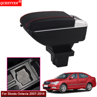 Car Styling ABS With PU Leather Car Armrest Box Center Console Storage Box Holder Case Accessories For Skoda Octavia 2007 2014