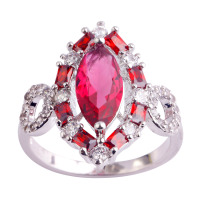 lingmei Free Shipping Wholesale Ruby Spinel & White Topaz  Silver Ring Size 6 7 8 9 10 11 Alluring Jewelry For Fashion Women