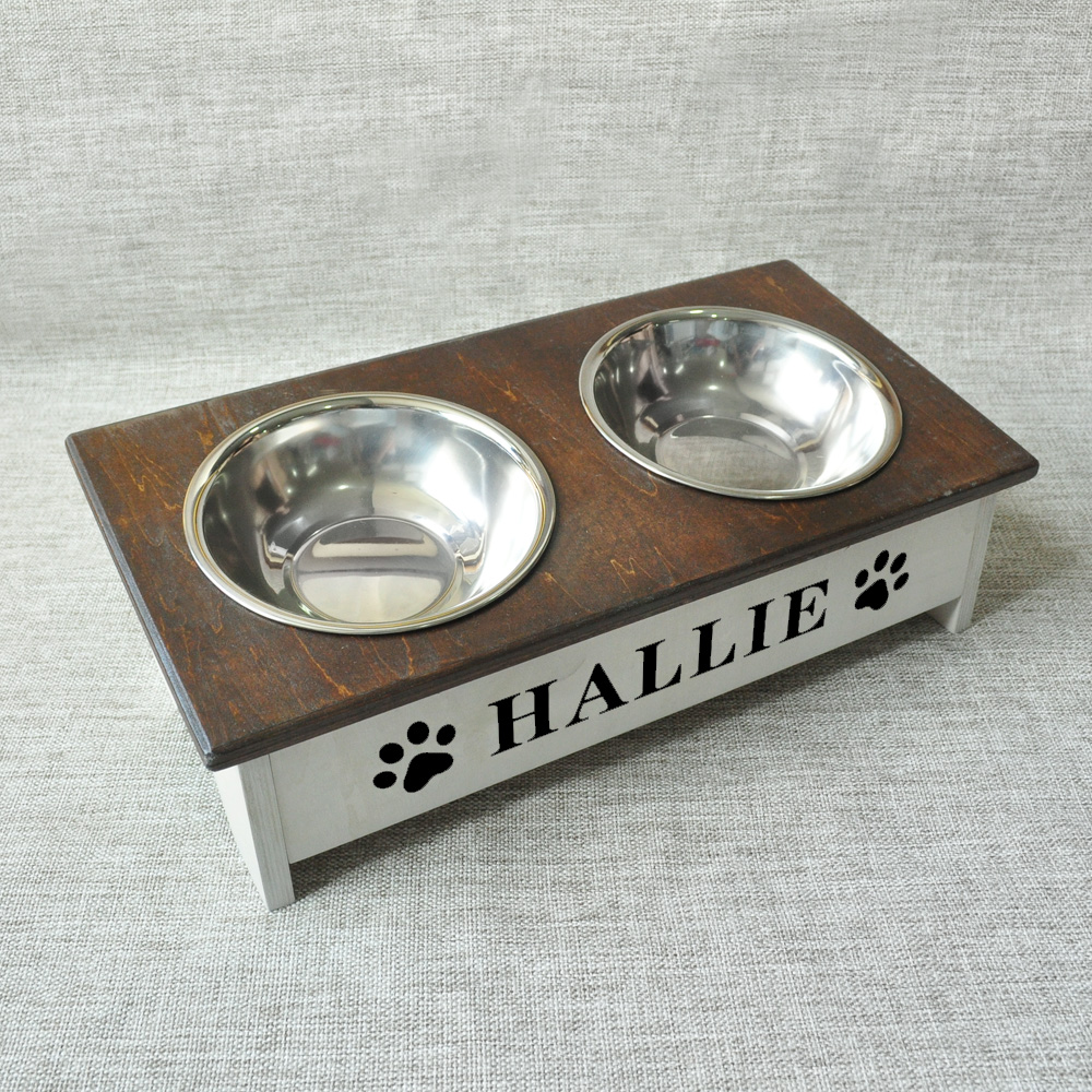Personalized Dog Fedding Stand Rustic Farmhouse Decor Wooden Dog Bowl Stand Dog Food Stand Pet Accessories