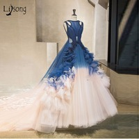 Vintage Mix Color Long prom Dresses Navy Blue Pearls Beaded Tulle Prom Gowns Ruffles 3D Flower Formal Dress 2018 Abendkleider