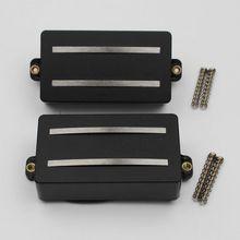 1 Set Alnico Rails Spoel Dubbele Pickup Vervanging Onderdelen voor 6 Snarige Elektrische Gitaar of Precisie instrumenten (DDR Zwart)