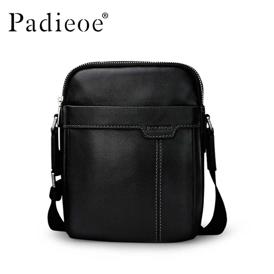 Padieoe Genuine Cow Leather Mens Bag for Male New Fashion Shoulder Messenger Bags Famous Brand Crossbody Bags padieoe cow leather men shoulder bag new fashion casual messenger bags famous brand genuine crossbody bags for male free ship