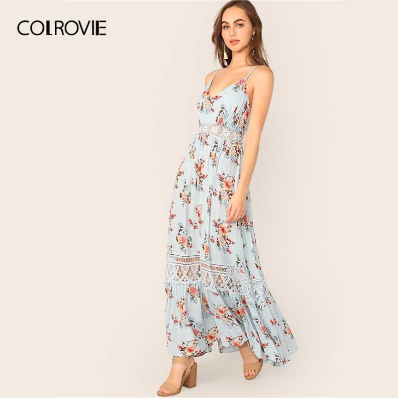 COLROVIE/синее Гипюровое платье с v-образным вырезом и кружевной вставкой, с цветочным принтом, на бретельках, Boho Maxi, женское платье 2019, летние праздничные платья с высокой талией