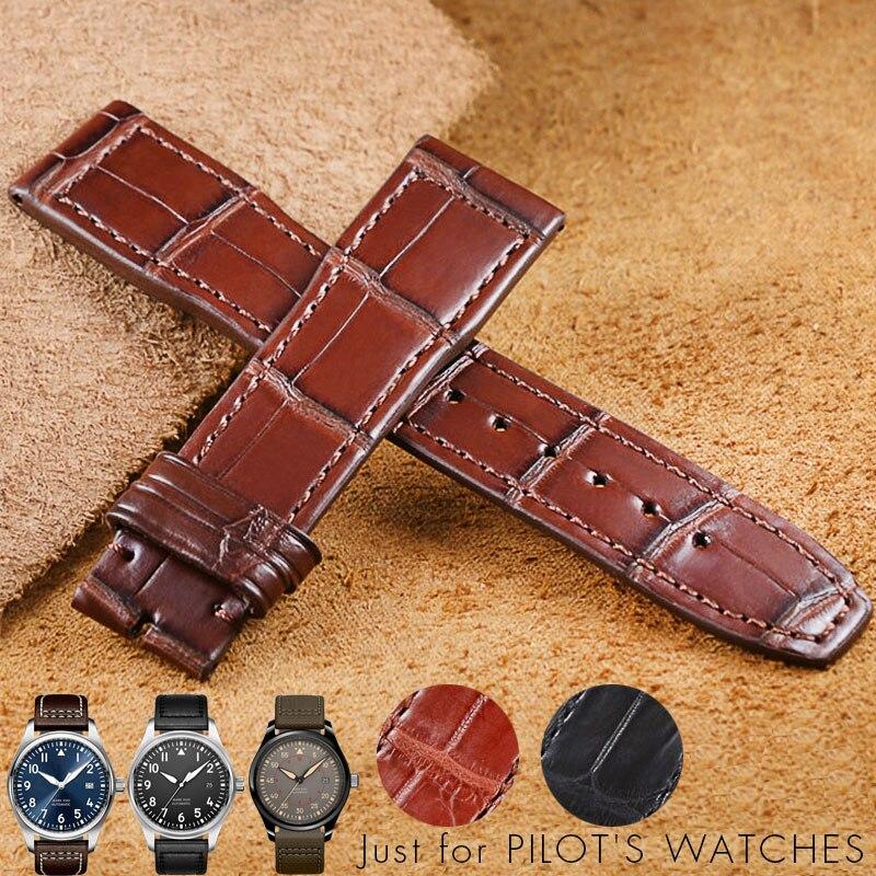 20mm 21mm Watchband For IWC PILOT Mark XVIII IW377701 IW326501 IW327004 Leather Crocodile Skin Leather Watchband Bracelet Strap crocodile skin pattern cow leather wristwatch strap watchband black size 20l