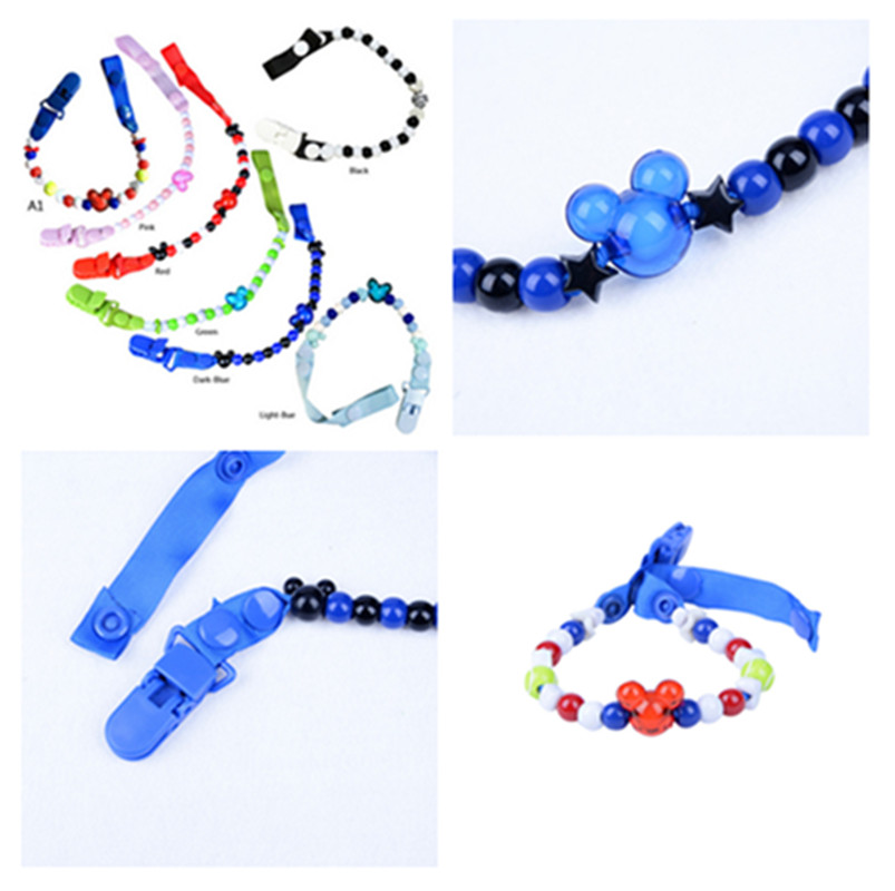 New Baby Pacifier Clip Chain Ribbon Holder Pacifier Clips Leash Strap Beads Nipple Holder For Infant Feeding