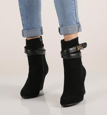 2017 mode femmes chaussures talons hauts solides compensées bout pointu femmes bottes noir bottines chaudes Botas Mujer pompes Sapatos Femininas - 2