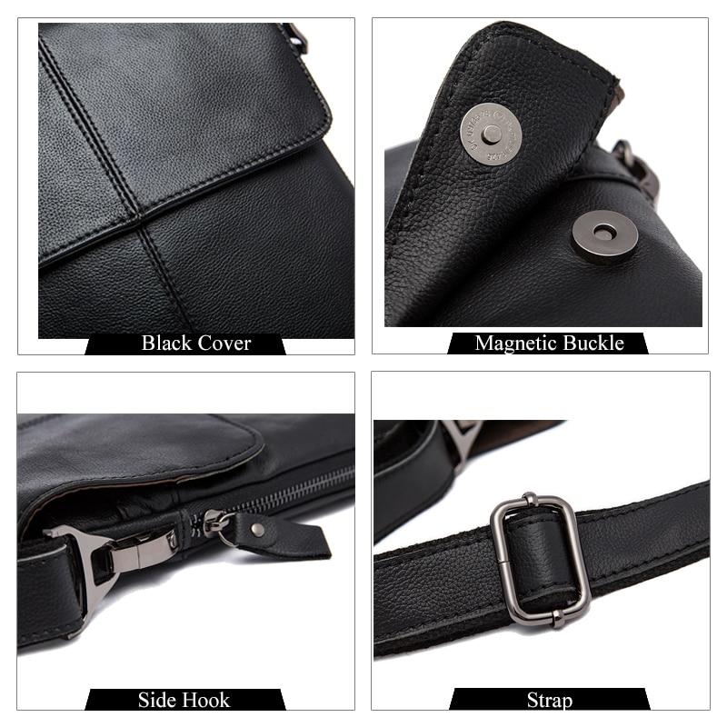 MVA Messenger Bag Mannen Schoudertas Echt leer Kleine mannen - Handtassen - Foto 4
