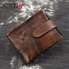 Genuine Leather Men Wallet Small 2018 New Walet Zipper&Hasp Male Portomonee Short Coin Purse Brand Perse Carteira For Rfid