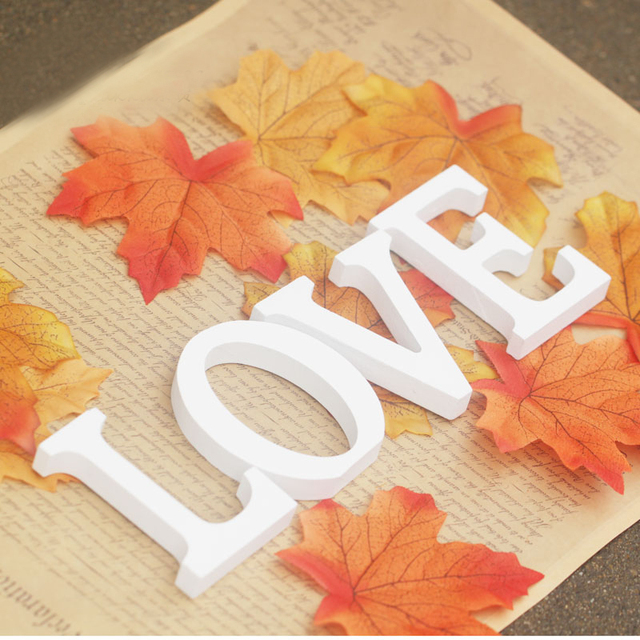 Tuba size  15cm 1pcs Home Decorations Artificial Wood White Letters wooden Letters of Wedding Birthday wedding decorations Gifts 1