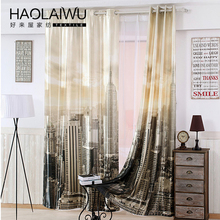 Free shipping modern style 3D digital print New York city Blackout curtain for living room window custom made