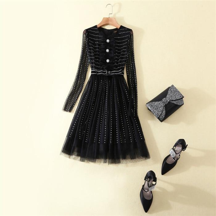 high quality women european brand 2018 runway o neck mesh long sleeve bead ironed princess black dress knee length dresses