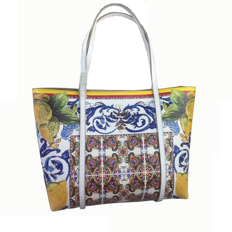 Nouveau sac à provisions imprimé Orange et citron anglais, sac principal, sac à main de grande capacité, sac à bandoulière
