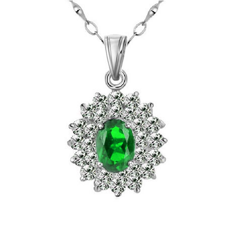 Top Classic Jewelry Princess Natural Diopside Pendant Russian Emerald Necklace In 925 Sterling Silver Birthstone Gift SP0343DI