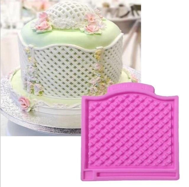 Diamond Lattice Shaped Birthday Cake Edge Decoration Mould Fondant Decor Molds Silicone Mold 9308cm Bakeware Pan E420
