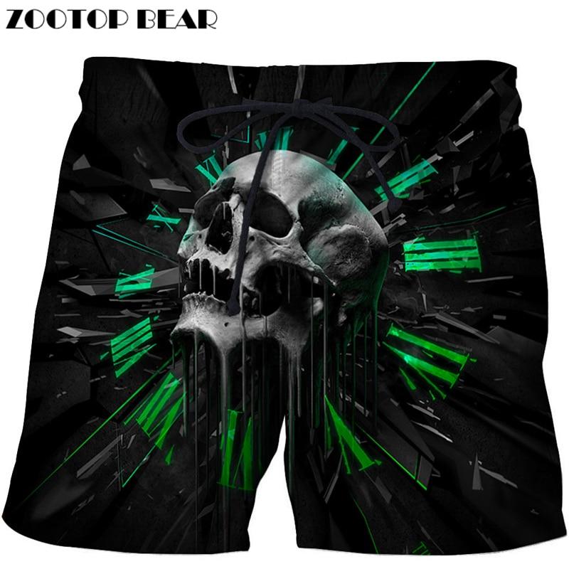 Skull Printed Beach   Shorts   Men 3d Funny   Short   Plage Summer Pants Quick Dry Pant   Board     Shorts   Swimwear DropShip ZOOTOP BEAR