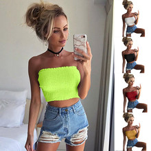 2019 Summer Neon Top Neon Green Crop Top Tank Cheap Clothes Women Sexy Cropped Tops Croptop Tshirts T shirt(China)