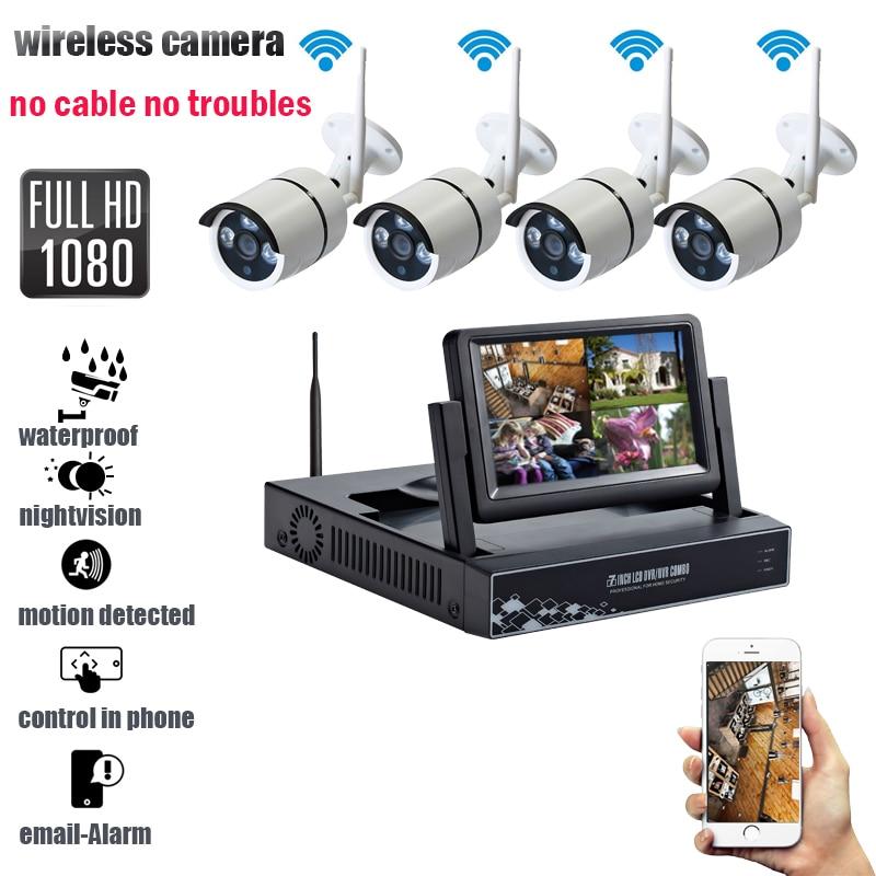 Wireless 4CH CCTV System 1080P HDMI AHD CCTV NVR 4PCS 2.0 MP IR Outdoor Security Camera 2400 TVL Camera Surveillance NVR Kit