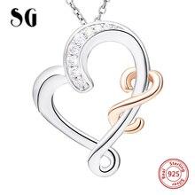 SG ny ankomst 925 Sterling Silver Esteticism kedja Halsband juveler CZ älskar Halsband Hängsmycken för kvinnor Flickvän gåva