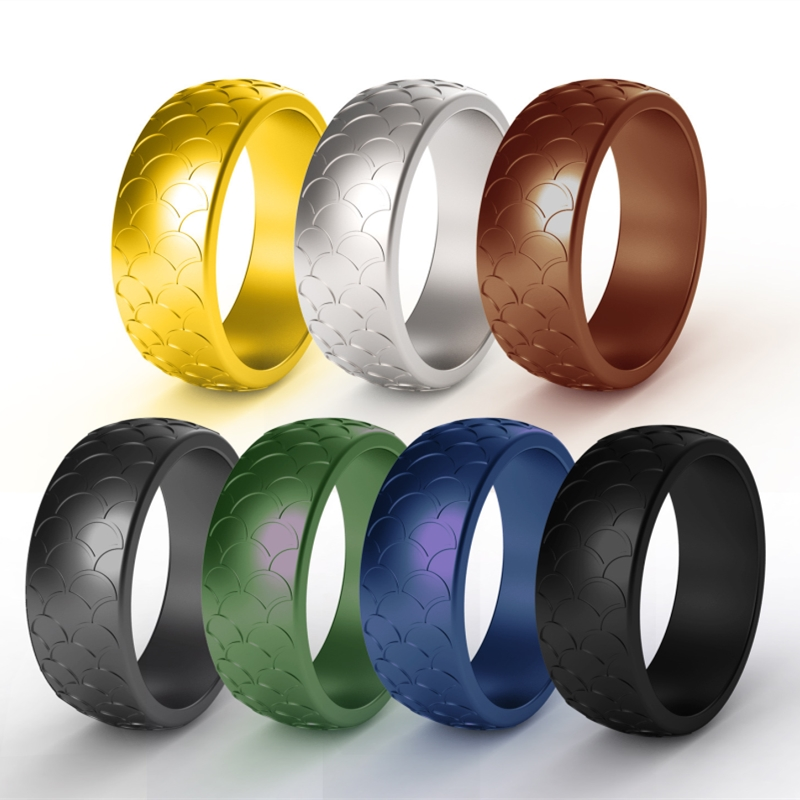Rubber Wedding Bands.Us 2 15 40 Off Fish Scale Sports Silicone Ring For Men Rubber Wedding Bands Hypoallergenic Antibacterial Soft Silicona Finger Rings Size 7 14 In