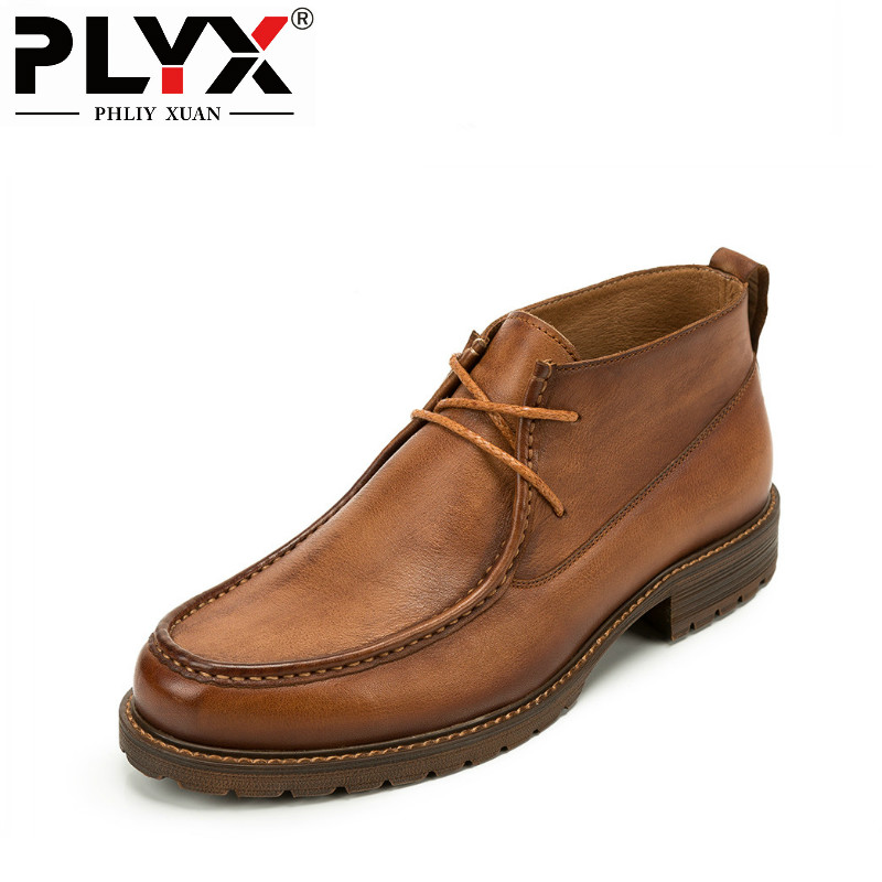 PHLIY XUAN British New 2018 Style Retro Genuine Leather Men Ankle Boots Italy100% Handmade Bota Stitching Winter Tactical Boots serene handmade winter warm socks boots fashion british style leather retro tooling ankle men shoes size38 44 snow male footwear
