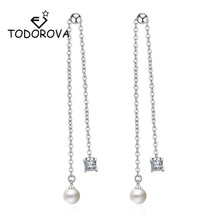 Todorova Elegant Simulated Pearl Long Earrings for Women Square Zircon Charm Pendant Chain Tassel Earring Bridal Wedding Jewelry