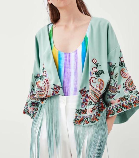 2018SS Fashion Sky Blue Floral Embroidered Kimonos V-neck With Long Tassels  Hem Woman Kimono jacket ae3bf230d5a6