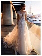 LORIE vestido de novia Bohemia boda 2019, Apliques de encaje con flores, tul, Sexy, sin espalda, para playa