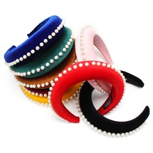 Hair Accessories Pearl Sponge Headbands for Women Velvet Hairbands Girls Solid Color Headband Hair Hoop xugar pearl hair turban headbands for women girls solid color outdoor sport hairbands women hair accessories