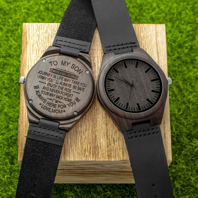 Personalized Engraved Wooden Men Black Ebony Watches Leather Wood Wrisch Quartz Clock Groomsmen Gift Dropshipping