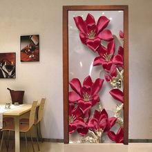PVC Self-Adhesive Door Sticker 3D Stereo Red Flowers Wallpaper Living Room Kitchen Classic Waterproof Door Decals Vinyl 3D Mural