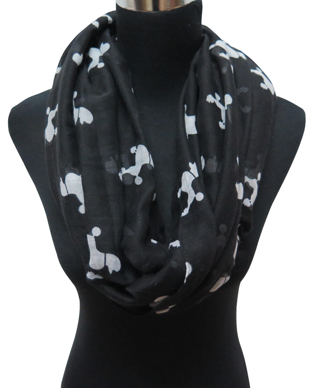 10pcs lot Poodle Dog Animal Print Women s Infinity Scarf Free Shipping