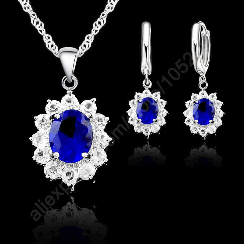 New Big Sale Vintage Round Crystal 925 Sterling Silver Jewelry Sets Drop Earrings Set Necklace Pendant For Women