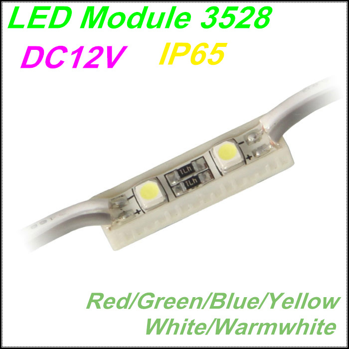 Бесплатная доставка 2 светодиодный модуль 3528 SMD красный/зеленый/синий/желтый/белый для письма канала СИД и реклама привела знак, IP65 Водонепр...