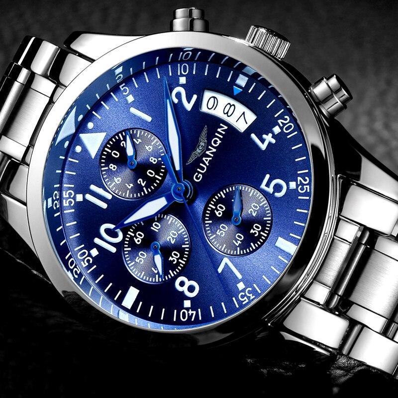 fd473192ca3 Mens Relógios Top Marca de Luxo GUANQIN Cronógrafo de Aço Inoxidável Dos  Homens de Negócios À