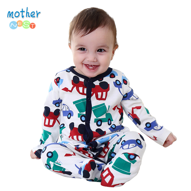 Mother Nest 2016 Newly Baby Romper Jumpsuit Winter Clothing Cute Car Printed Kids Clothing Autumn 100% Cotton Baby Boy Clothes mother nest baby romper 100% cotton long sleeves baby gilrs pajamas cartoon printed newborn baby boys clothes infant jumpsuit
