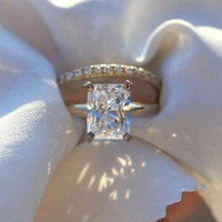 14K Yellow Gold Cushion 2.7 Carat 7x9mm DF Moissanite Engagement Halo Ring Set Lab Diamond Solitaire Wedding for Women 2 Pieces
