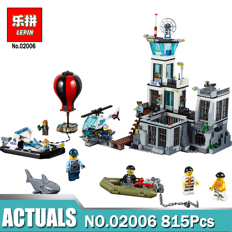 Lepin building toy 02006 815pcs Building Blocks Compatible with legoing 60130 City Series The Prison Island toys & hobbies gift lepin 02006 815pcs city series police sea prison island model building blocks bricks toys for children gift 60130