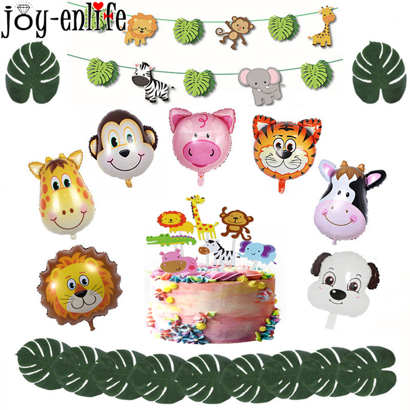 1pcs Jungle Animal Foil Balloons Lion Monkey Zebra Deer Inflatable Balloon Birthday Party Decorations Kids Boy Safari Zoo Globos