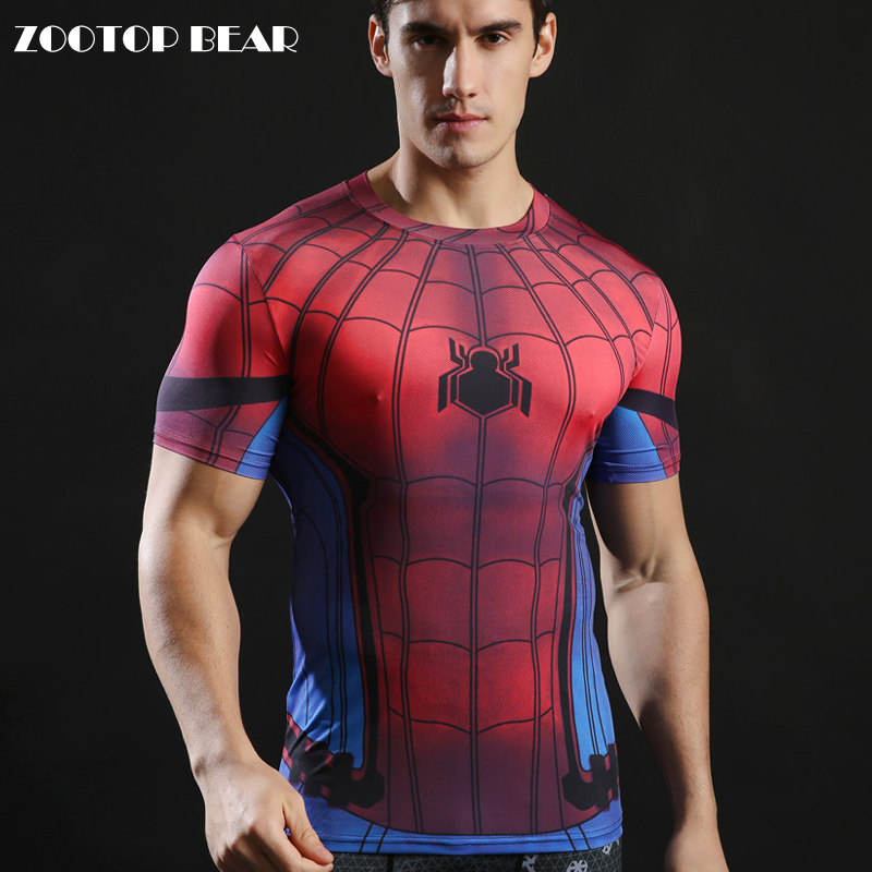 Spiderman Printed 3d Tops Men T-shirts Superhero Comic Funny Tshirts Compression Tees Fitness Camiseta 2017 Tees ZOOTOP BEAR
