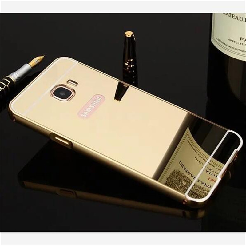 For Samsung Galaxy J5 Prime Case Mirror Back Cover Case Aluminum Metal Frame Phone Bag Cases