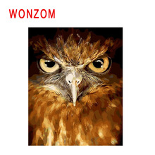 WONZOM Owl Painting By Numbers Abstract Bird Oil Animal Cuadros Decoracion Acrylic Paint On Canvas Modern Art Gift